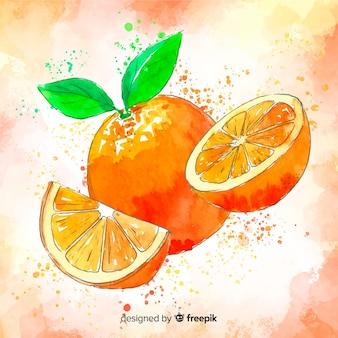 Fond orange aquarelle