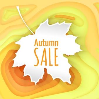 Fond orange coupé en papier modèle de bannière de vente d'automne avec des formes coupées en papier jaune