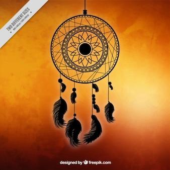 Fond orange avec un dreamcatcher