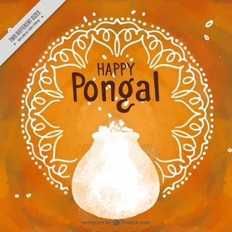 Fond orange avec mandala et pot dans le style d'aquarelle