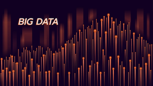 Fond orange de technologie big data