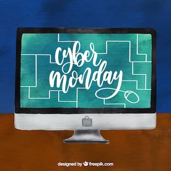 Fond d'ordinateur avec fond d'écran cyber lundi