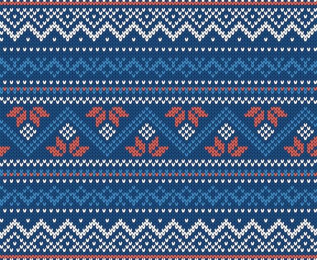 Fond d'ornement géométrique en tricot dans les couleurs bleus et blancs.