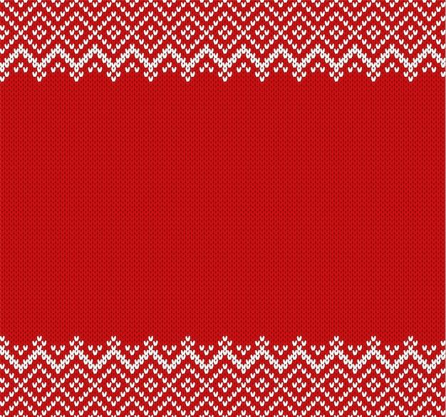 Fond d'ornement géométrique en tricot avec une place vide pour le texte. motif texturé tricoté dans le style fair isle.