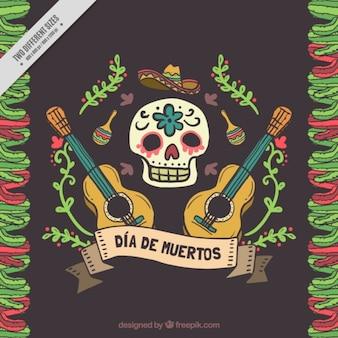 Fond d'ornement de la main peint crâne mexicain