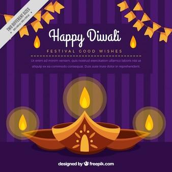 Fond ornemental avec des bougies de diwali