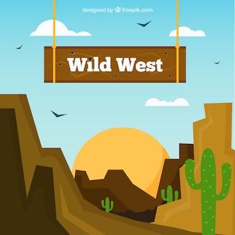 Fond de l'ouest avec des montagnes rocheuses en design plat