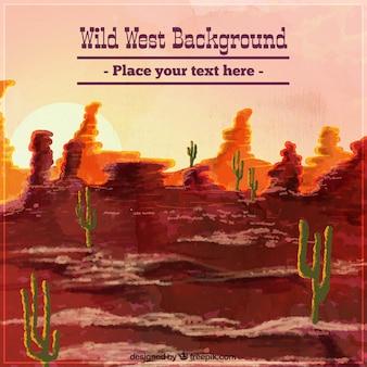 Fond ouest sauvage avec cactus