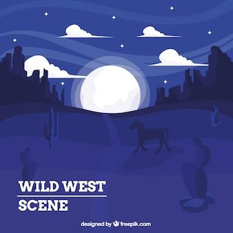 Fond ouest sauvage à cheval dans la nuit