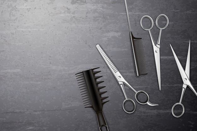 Fond d'outils de coiffure avec peigne et ciseaux sur table réaliste