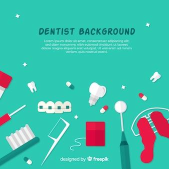 Fond d'outils de dentiste plat