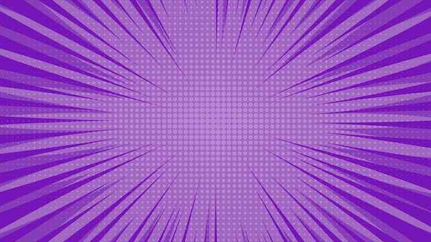 Fond de page de bande dessinée violet dans un style pop art avec un espace vide. modèle avec des rayons, des points et une texture effet demi-teinte. illustration vectorielle