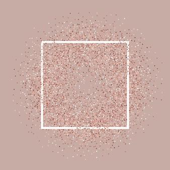 Fond de paillettes d'or rose avec cadre blanc
