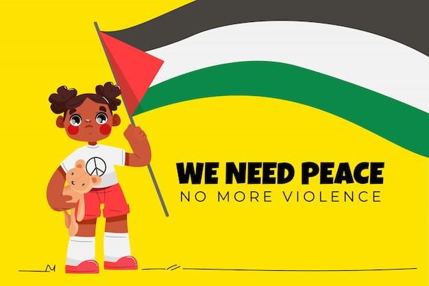 Fond de paix de dessin animé illustré