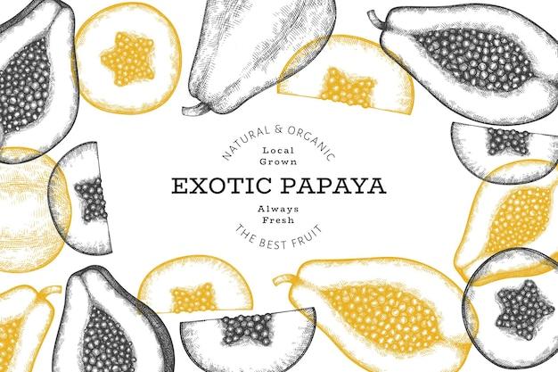 Fond de papaye de style croquis dessinés à la main. fruits frais bio. fruits rétro