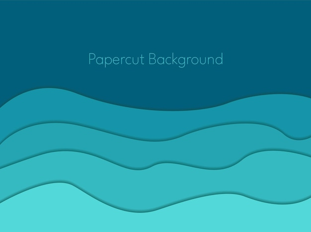 Fond de papercut vagues abstraites bleues