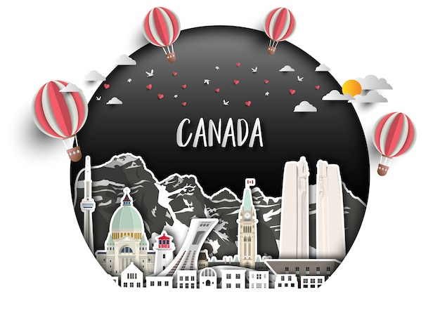 Fond de papier canada landmark global travel and journey.