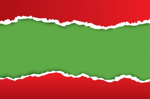 Fond de papier déchiré de noël rouge avec la couleur verte