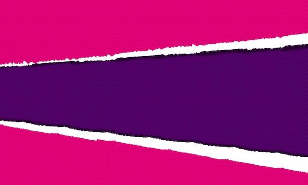 Fond de papier déchiré violet et rose. illustration vectorielle.