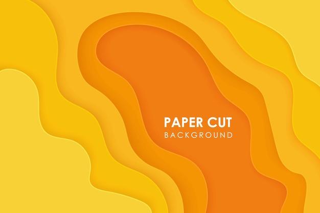 Fond de papier découpé abstrait vague jaune orange