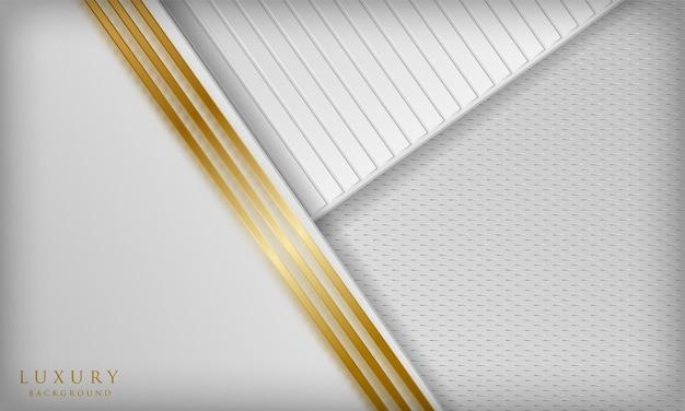 Fond de papier découpé blanc de luxe avec des lignes diagonales dorées et un effet de flou