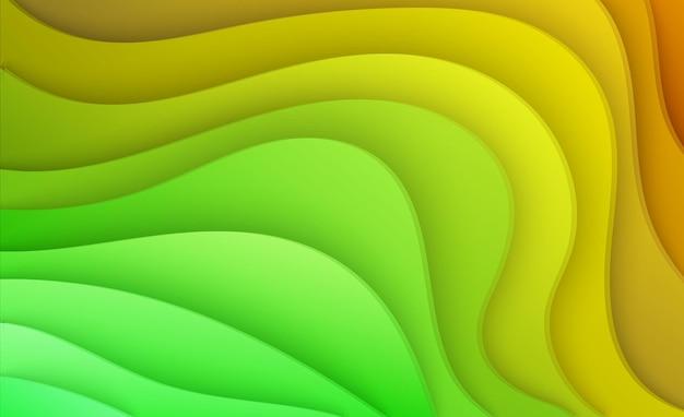 Fond de papier découpé de couleur jaune et verte affiche abstraite en papier jaune doux avec des couches ondulées