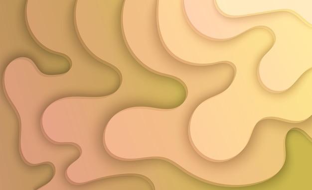 Fond de papier découpé décoration de papier réaliste abstraite pour la conception dégradé ondulé de couches jaunes