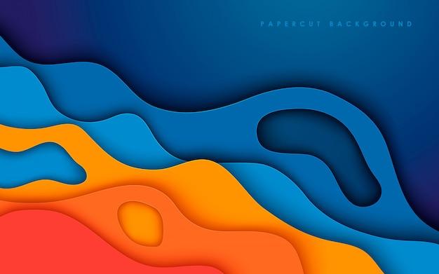 Fond de papier découpé fluide coloré