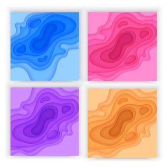 Fond de papier découpé avec fond abstrait 3d slime de couches de vagues colorées violet bleu