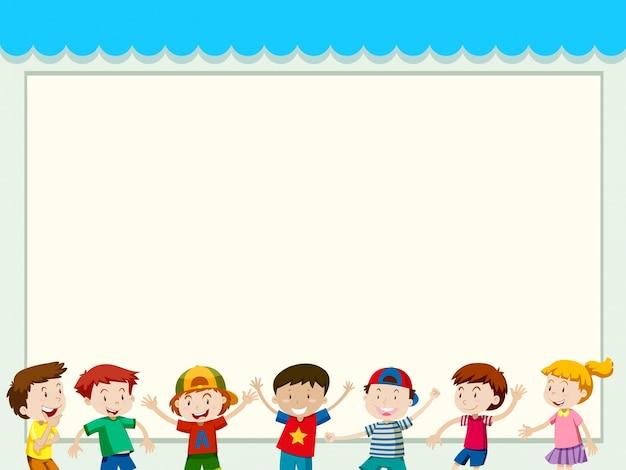 Fond de papier avec des enfants heureux