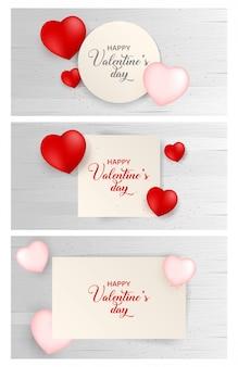 Fond de papier de saint valentin avec jeu d'icônes