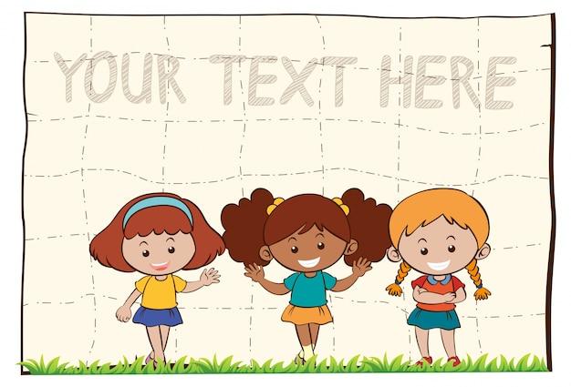 Fond de papier avec trois filles heureux