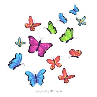 Fond papillon plat