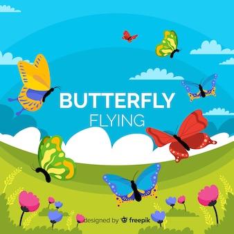 Fond de papillons colorés