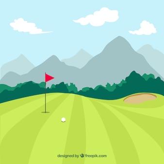 Fond de parcours de golf dans un style dessiné à la main