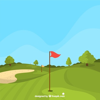Fond de parcours de golf dans le style plat