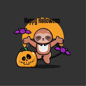 Fond de paresseux halloween au design plat
