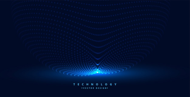 Fond de particules de technologie avec source de lumière