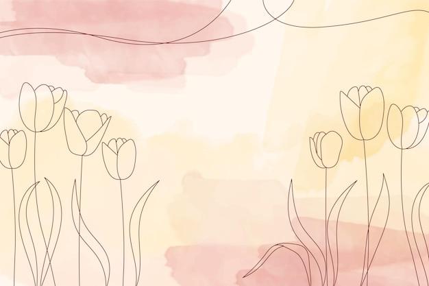 Fond pastel aquarelle jaune avec des éléments de fleurs dessinés à la main