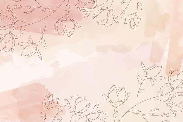 Fond pastel aquarelle sépia avec des éléments de fleurs dessinés à la main