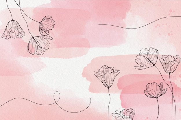 Fond Pastel Doux Avec Des Fleurs Vecteur Premium