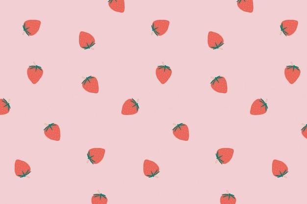 Fond pastel motif fraise mignon