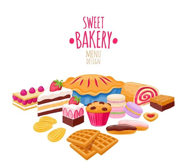 Fond de pâtisserie sucrée. produits de boulangerie.