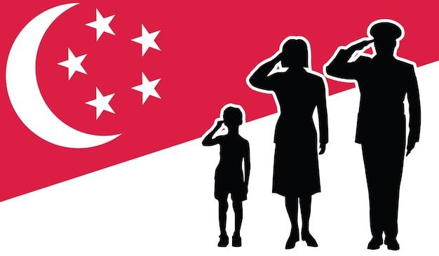Fond de patriote de salut de famille de soldat de singapour