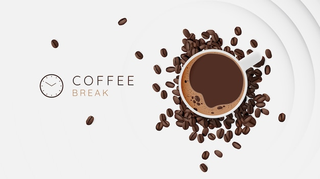 Fond de pause café avec tasse à café et jeu de couleurs pastel