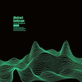 Fond de paysage abstrait. cyberespace avec des particules dynamiques