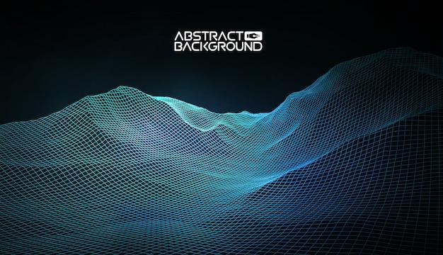 Fond de paysage abstrait vectoriel filaire.