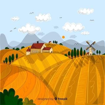 Fond de paysage agricole dessinés à la main