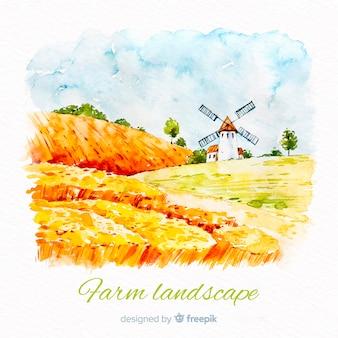 Fond de paysage aquarelle ferme