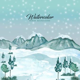 Fond de paysage aquarelle d'hiver